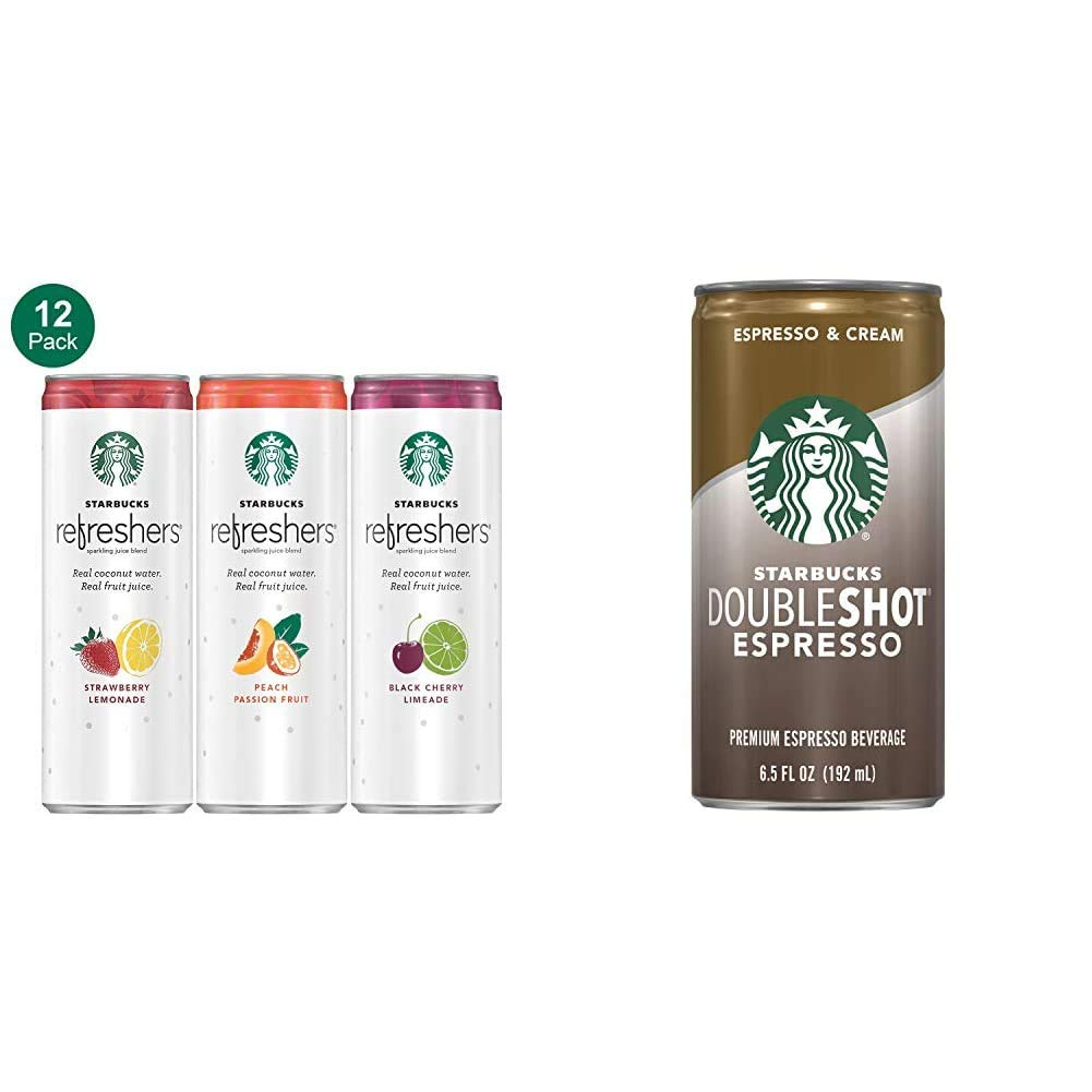Starbucks, Refreshers with Coconut Water, 3 Flavor Variety Pack, 12 fl Oz. Cans (12 Pack) (Packaging May Vary) & Doubleshot, Espresso + Cream, 6.5 Fluid Ounce, Pack of 12