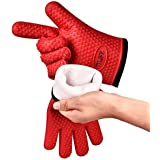 TTLIFE Silicone Heat Resistant Cooking Gloves Oven Mitt Internal Protective Cotton Layer Gloves for Grilling ,Kitchen - Cooking & Baking Non-Slip Potholders -1 Pair (Red)
