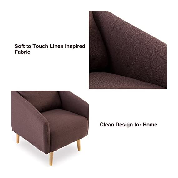 BONZY Accent Chair Mid-Century Style for Living Room Durable Frame - Light Brown -  - living-room-furniture, living-room, accent-chairs - 51EIlgjLhvL. SS570  -