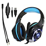collee 3.5mm Gaming Headset LED Light Over-Ear Gaming with Volume Control, Microphone for PS4 Laptop, Tablet, PSP, Xbox, Mobile Phones(Black+Blue)