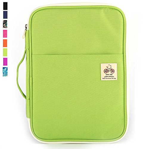 JAKAGO New Multi-Functional Waterproof Travel Pouch A4 Document Bags Portfolio Organizer Passport Cellphone Holder Letter Size File Folder with Zippered Case for Travel Office Business (Green) - Document Folio