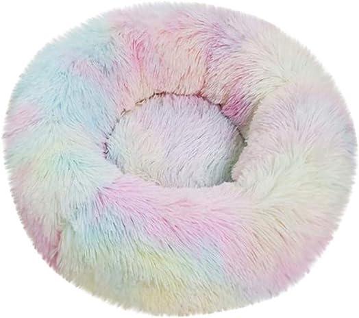 Lomsarsh Pet Bed Dog Round Cat Winter Warm Sleeping Bag Long Plush Soft Pet Bed Calming Bed Pet Nest Round Depth Kennel Pet Nest Gradient Tie Dye