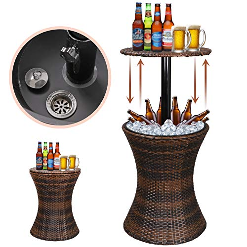 - Super Deal Height Adjustable Cool Bar Rattan Style Outdoor Patio Table Cooler All-Weather Wicker Bar Table with Ice Bucket for Party, Pool, Deck, Backyard