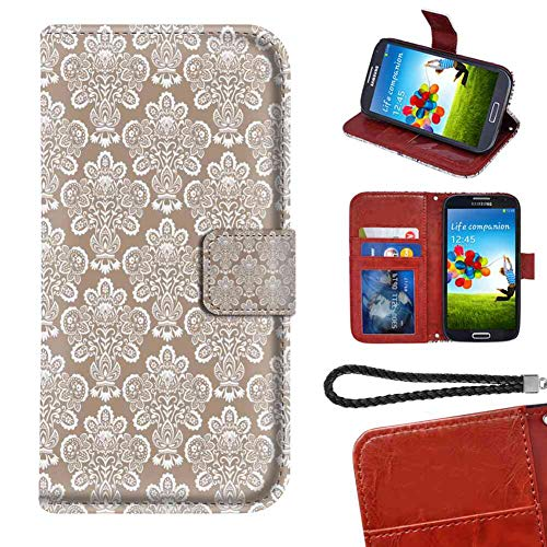 LG G7 ThinQ Wallet Case, Vintage Damask Style Curly Floral Motifs in Repetition Traditional Old Fashioned Warm Taupe and White PU Leather Folio Case with Card Holder and ID Coin ()