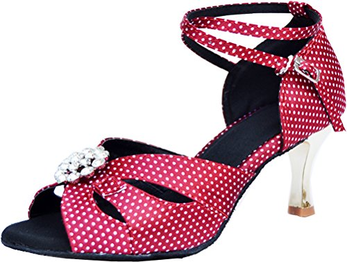 Abby 005 Womens Smart Fashion Latin Wedding Salsa Peep-toe Satin Professional Dance-shoes Rose 9Kczs