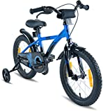 "PROMETHEUS Kids bike 16 inch Boys and Girls in Blue & Black with stabilisers | Aluminum Calliper brake and backpedal brake | including security package | as from 5 years | 16"" BMX Edition 2018"