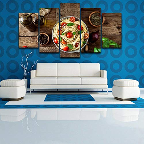 (IGZAKER No Frame Home Decor Canvas Pictures 5 Pieces Italian Cuisine Pasta Olive Oil Garlic Paintings Kitchen Hd Prints Posters Wall)
