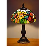 NOSHY Butterfly Tiffany Style Bedside & Table Lamps,Multi-Color,8-inch,2-Butterfly Copper Mesh,1-E12 Bulb Socket,Zinc Base and Finished Antique Brass,Pack of 1