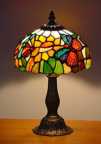 NOSHY UT08001 Tiffany Style Butterfly Stained Glass Table Lamps,Multicolor,8-Inch Diameter,13.5-Inch Height,E12 Lamp Socket, Pack of ()