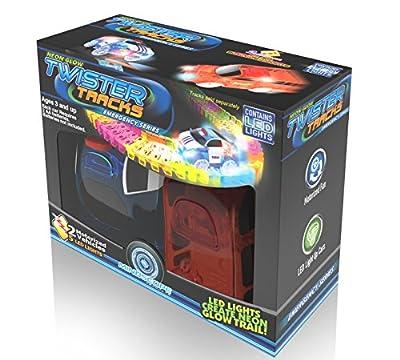 Mindscope Twister Tracks Neon Glow in Dark Add On Emergency Car Series set of 2 from Mindscope