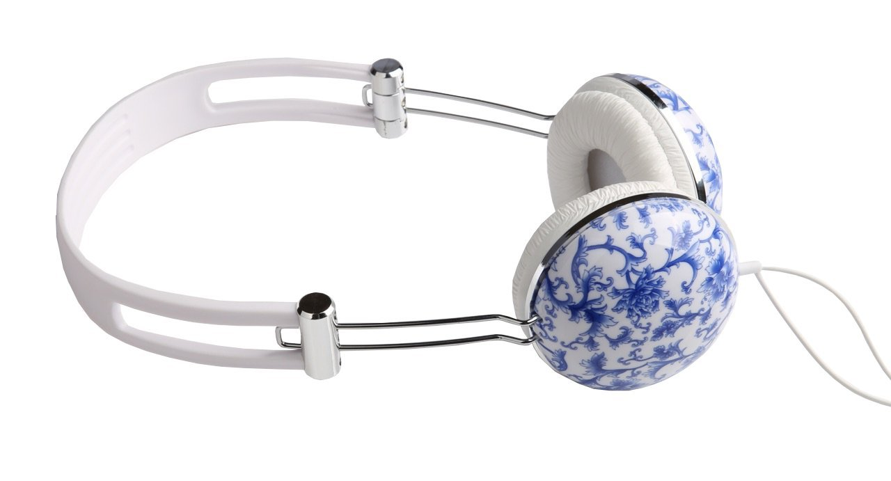 Vantage Decor Over Ear Headphones for iPhone Android Tablet Laptop Blue Floral by Vantage Decor (Image #3)