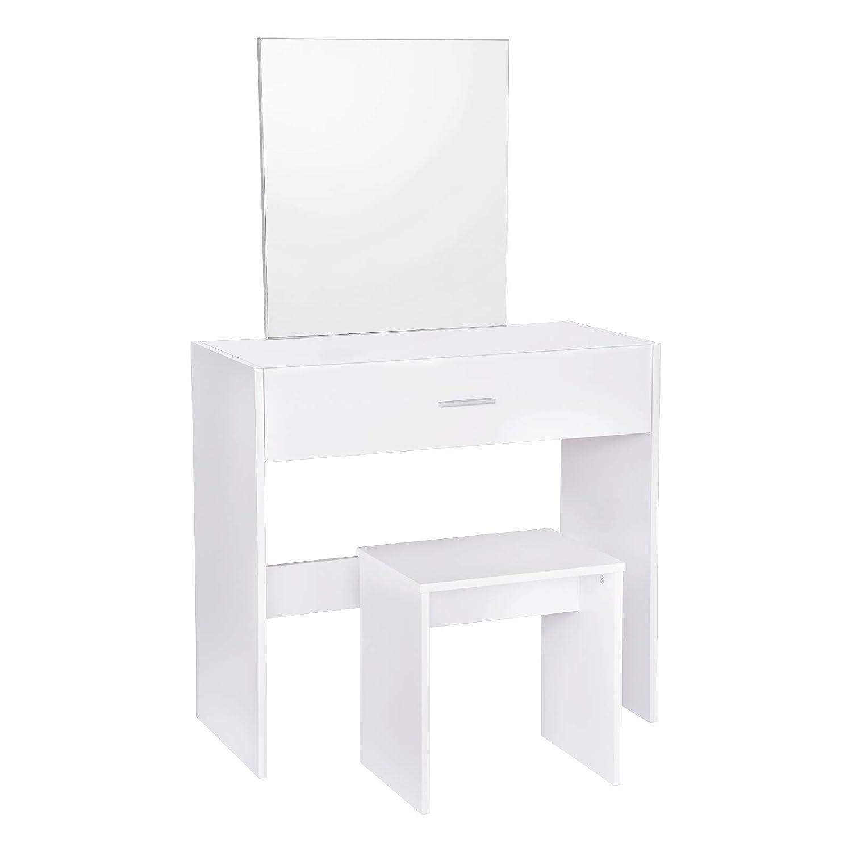 WOLTU MB6043sz Coiffeuse Table avec Miroir et tiroir + Coiffeuse Tabouret, Noir