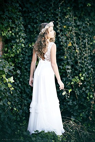 ff3c9b8f23e Amazon.com  Wedding Ivory Lace Flower Girl Dress