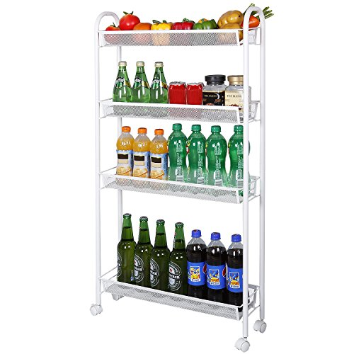 Lifewit 4-Tier Gap Storage Rolling Cart with Omnidirectional Casters, Slim Slide-out Tower Rack for Kitchen / Bathroom / Laundry Room / Pantry Organization, White (Shelves Narrow Tall Metal)