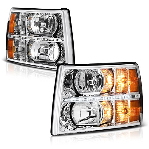 VIPMOTOZ For 2007-2013 Chevy Silverado 1500 2500HD 3500HD Headlights - Metallic Chrome Housing, LED Daytime Running Lamp Strips, Driver and Passenger Side