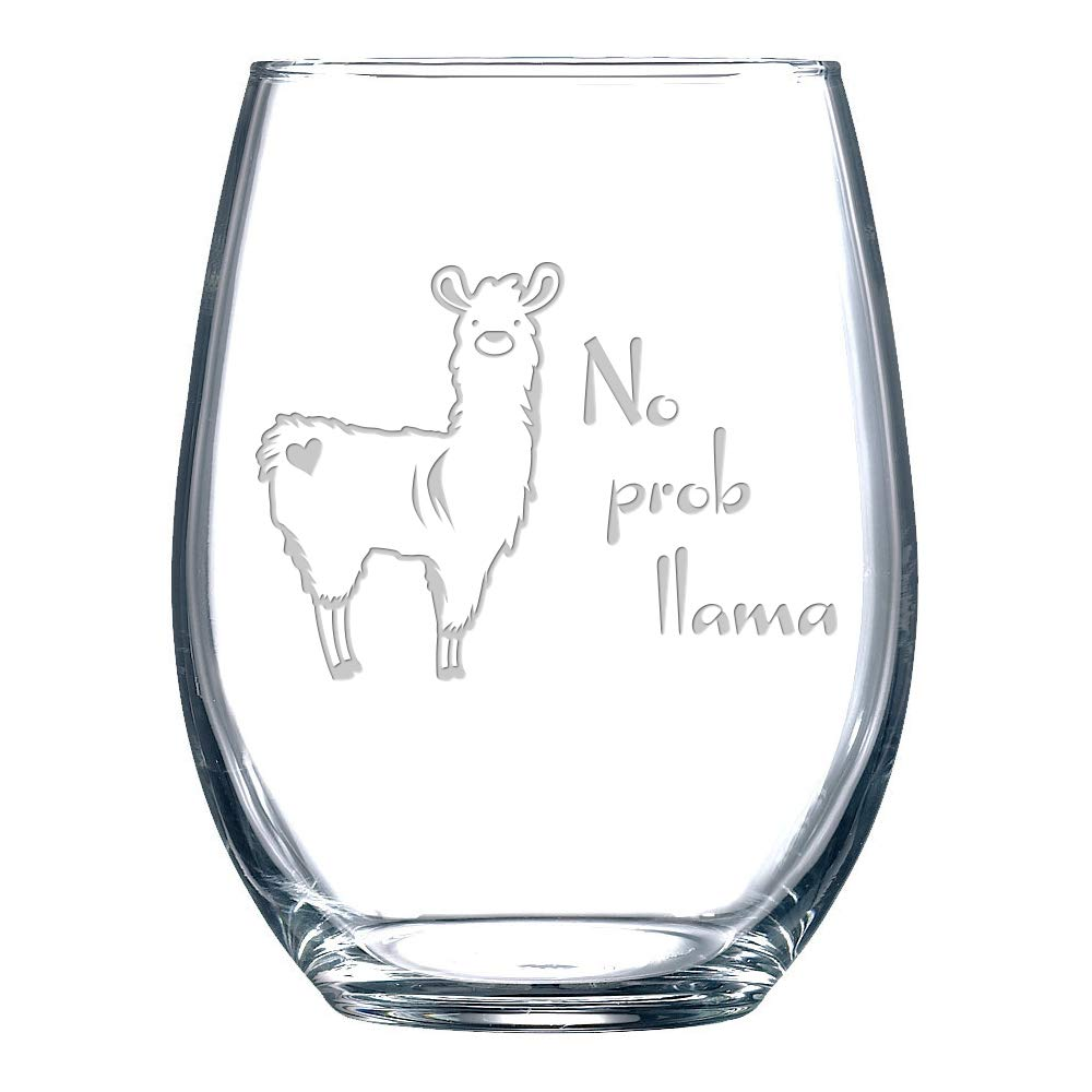 Funny Stemless Wine Glass - No Prob Llama - Etched with Cute Animal