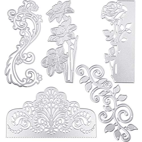 5 Pieces Wedding Invitation Lace Flower Cutting Metallic Cutting Dies Metal Flower Border Cutting Dies Embossing Dies Stencil for Scrapbooking Card Making DIY - Die Lace