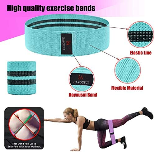 Hayousui Exercise Resistance Bands for Women - Hip Booty Bands Stretch Workout Bands Cotton Resistance Band for Legs and Butt Body Yoga Pilates Muscle Training 5
