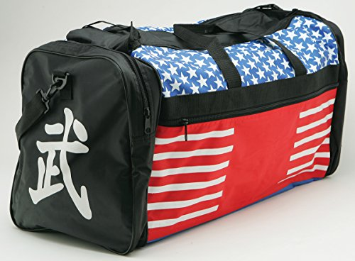 "Taekwondo Sparring Gear Martial Arts Gear Equipment Bag Tae Kwon Do Karate MMA American Flag Big Bag 13""x27""x14"""