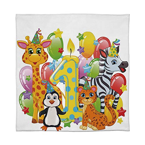 YOLIYANA Flannel Blanket,1st Birthday Decorations,for Living Room Bedroom Hotel,Size Throw/Twin/Queen/King,Kids Party with Baby Safari Animals Zebra ()