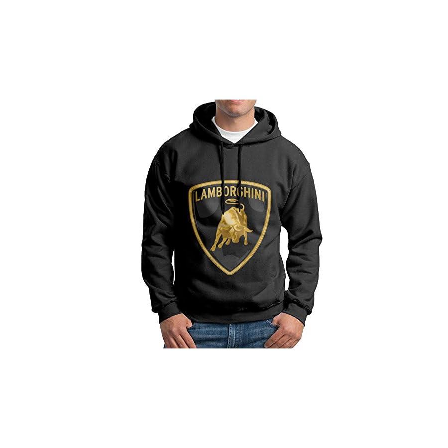 Lamborghini Logo Pullover Hooded Adult Black Sweatshirt Hoodie