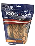"Pet Factory 78128 Beefhide | Dog Chews, 99% Digestive, Rawhides to Keep Dogs Busy While Enjoying, 100% Natural, Peanut Butter Flavored Braids, Pack of 6 in 7-8"" Size, Made in USA"