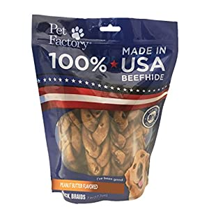 """Pet Factory 78128 Beefhide   Dog Chews, 99% Digestive, Rawhides to Keep Dogs Busy While Enjoying, 100% Natural, Peanut Butter Flavored Braids, Pack of 6 in 7-8"""" Size, Made in USA 85"""