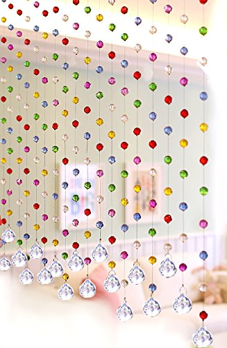 Glass Beaded Curtain - Discount4product Multi Color Crystal 20 string Drop Diamond for partition spaces wedding decoration home decoration