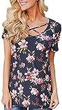 UGET Women's Floral Print Short Sleeve V Neck T-Shirt Blouse Asia L Navy Blue