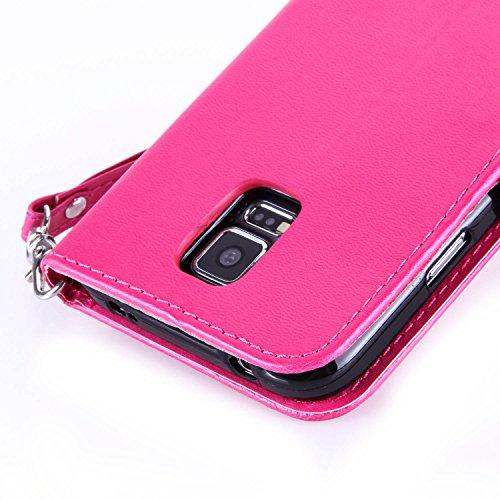 Sunroyal® para Samsung Galaxy S5/S5 NEO/GT-I9600/G900 Funda Case PU Cover Carcasa Accesorios Set, Premium Luxury Alta Calidad Flip Leather Telefono Plegable Caja de la Carpeta Bolsa de Moda Cubierta F RojoRosa01