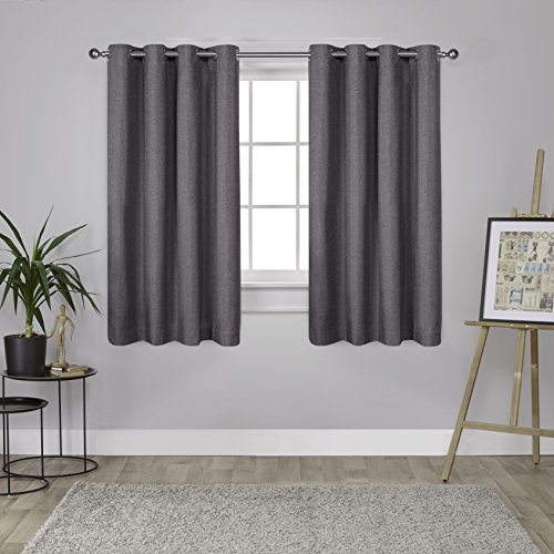 Exclusive Home Curtains Loha Linen Grommet Top Window Curtain Panel Pair, Black Pearl, 52x63 - Home Panel Bed