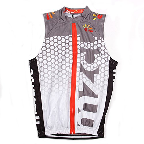 Cycling Wind Vest (Mzcurse Men's Sleeveless Wind Vest Cycling Jersey Shirt Bicycle Bike Tees (White , Large,please check the size chart))