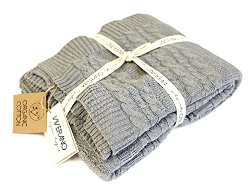 Viverano 100% Organic Cotton Throw Cable Knit Blanket (50