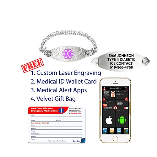 Divoti Custom Engraved Lovely Filigree Medical Alert Bracelet -Handmade Byzantine-Purple-6.5'' by Divoti (Image #2)