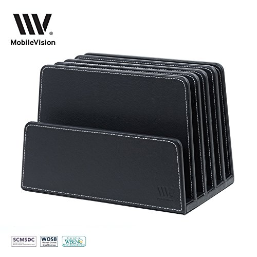 MobileVision Executive Black Desktop File Folder Organizer and Paper Tray, 5 Slot Dividers - Leather Mail Organizer