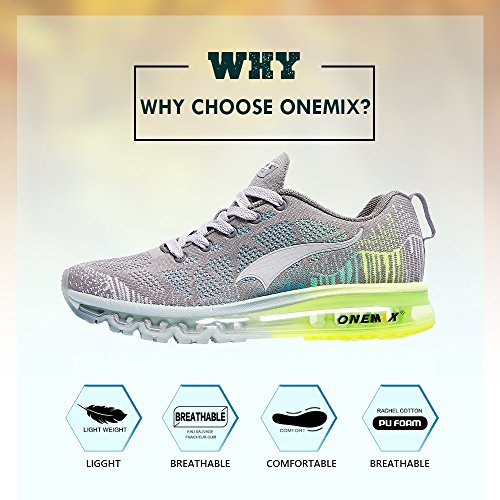 Onemix Vrouwen Luchtkussen Outdoor Sport Loopschoenen Lichtgewicht Toevallige Tennisschoenen Grey2