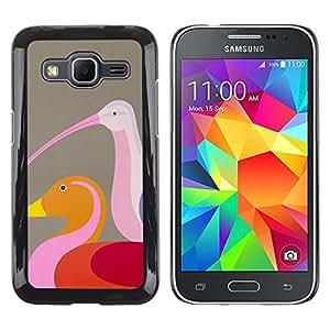 MobileHut / Samsung Galaxy Core Prime SM-G360 / Duck Birds Brown Pink Art Colorful / Delgado Negro Plástico caso cubierta Shell Armor Funda Case Cover