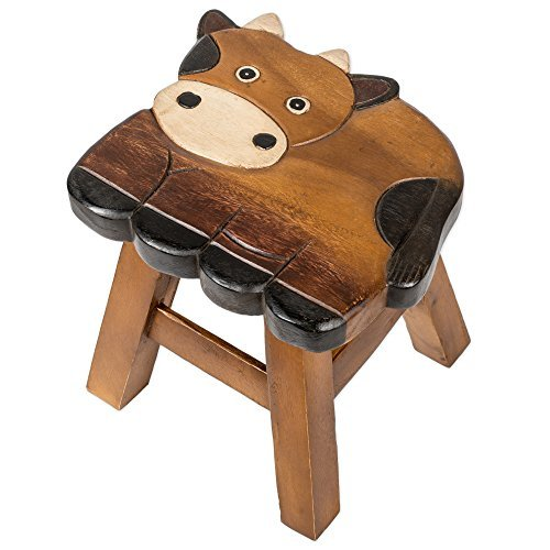 Cow Design Hand Carved Acacia Hardwood Decorative Short Stool by Sea Island Imports