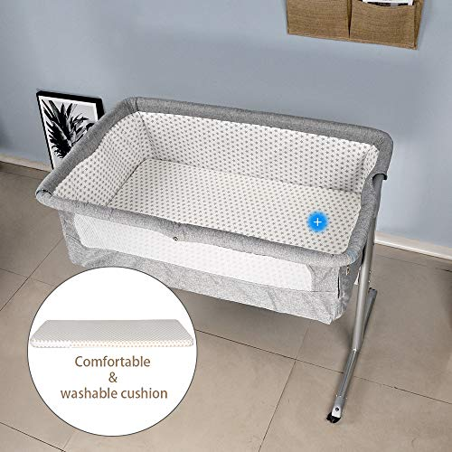 Breathable Mesh and Mosquito Net Bedside Bassinet,4HOMART Bedside Sleeper Portable Baby Crib Side Sleeper/with Firm Mattress