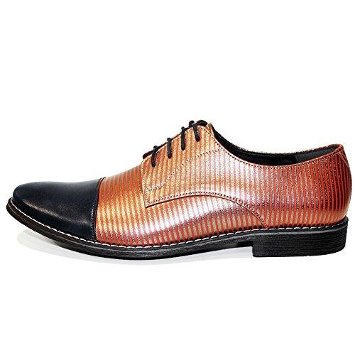 Hombre Mano Stero Italiano Encaje Modello Cuero A Piel Peppeshoes Hecho Vestir Zapatos Naranja Oxfords Suave xq1Y0wna