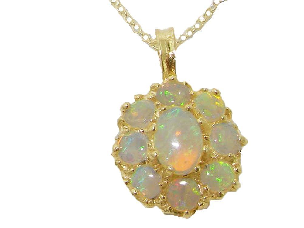 Opal Pendant Opal Necklace Opal Cluster Yellow Gold Opal Pendant