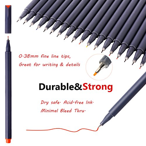 Large Product Image of Journal Planner Pens Colored Pens Fine Point Markers Fine Tip Drawing Pens Porous Fineliner Pen for Journaling Writing Note Taking Calendar Agenda Coloring Art School Office Supplies, 18 Colors