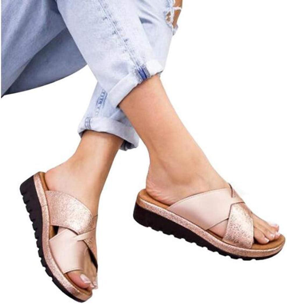 XSMG Corrector De Juanetes Ortopédico para Mujeres Zapatos Ortopédicos Sandalias Correctoras Suaves con Dedo Gordo del Pie Suela Plana De Cuero De PU Zapatillas Casuales,F1,34: Amazon.es: Deportes y aire libre