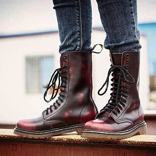 Martin Merryhe Chaud Doublure Genres Chaussures À Biker Bottes Mi De Hommes Intérieure D'hiver Véritable Cowboy Red Combat Lacets Deux botte En Cuir HXwXnr0q