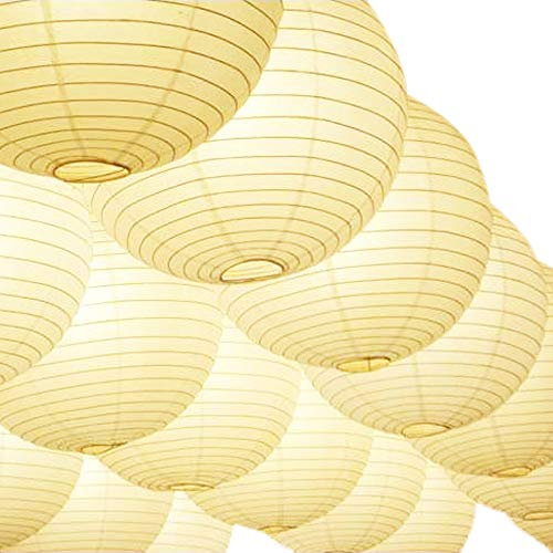 Novelty Place 8 inch White Paper Lanterns (Pack of 10) - Great Chinese/Japanese Home, Party & Wedding -