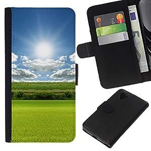 KLONGSHOP // Tirón de la caja Cartera de cuero con ranuras para tarjetas - Naturaleza Campo Sol - LG Nexus 5 D820 D821 //