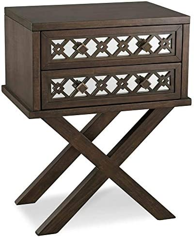 Leick 2 Drawer Diamond Mirrored Accent End Table in Walnut