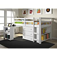 Twin Low Loft With Roll-Out Desk 3 Drawer Chest and Bookcase White