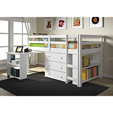 Twin Low Loft With Roll Out Desk 3 Drawer Chest And Bookcase White