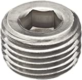 Merit Brass 618B-08 Stainless Steel 316 Pipe Fitting, Hex Countersunk Plug, Class 1000, 1/2'' NPT Male (Pack of 25)